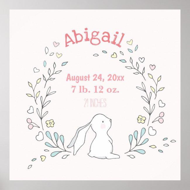 Cute bunny in a wreath - Birth Stats Nursery Art