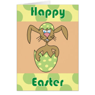 Cute Bunny in Egg Polka Dots Easter Cards