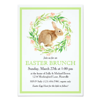 Cute Bunny in Floral Wreath Easter Brunch Card