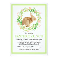 Cute Bunny in Floral Wreath Easter Brunch Invitation