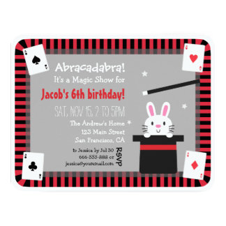 "Cute Bunny in Magic Hat Birthday Party Invitations 4.25"" X 5.5"" Invitation Card"