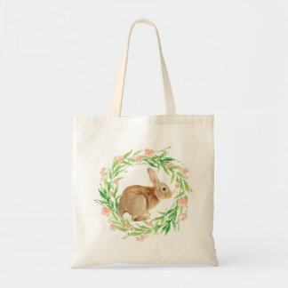 Cute Bunny in Watercolor Floral Wreath Tote Bag