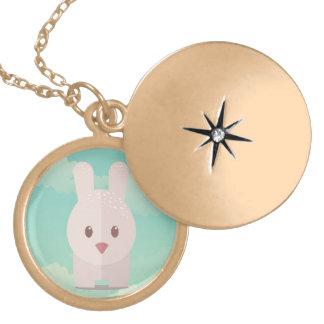 Cute Bunny Kawaii Style Illustration Round Locket Necklace