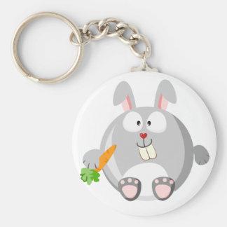 Cute bunny basic round button keychain