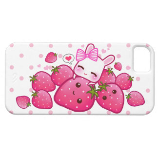 Cute bunny loves kawaii strawberries iPhone SE/5/5s case