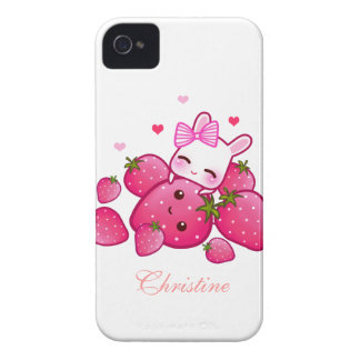 Cute bunny loves kawaii strawberries - Personalize iPhone 4 Cases