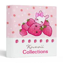 Cute bunny loves kawaii strawberry binder