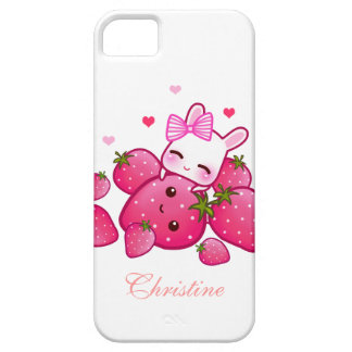 Cute bunny loves kawaii strawberry - Personalized iPhone 5 Case