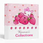 Cute bunny loves kawaii strawberry vinyl binder