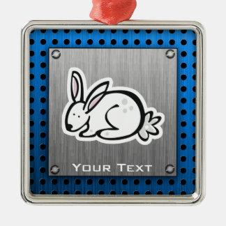 Cute Bunny; Meta-look Square Metal Christmas Ornament