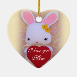 Cute Bunny Mother's Day Customizable Ornament