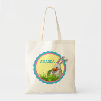 Cute Bunny Munching on a Carrot Personalizable Tote Bag