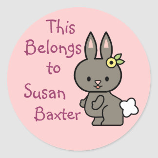 Cute Bunny Name Tag Stickers