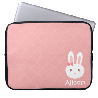Cute Bunny on Pink Dots and Square Pattern Computer Sleeves