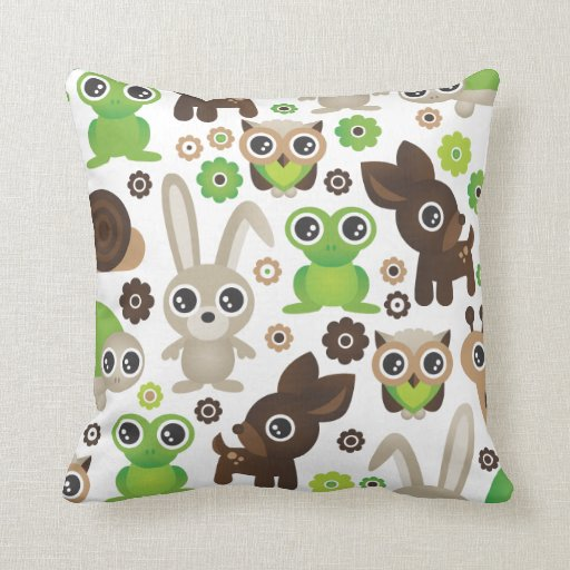 Cute Owl Pillow Pattern : Cute bunny owl deer frog turtle pattern throw pillow Zazzle