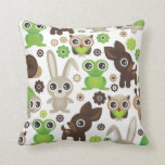 Cute bunny owl deer frog turtle pattern throw pillow