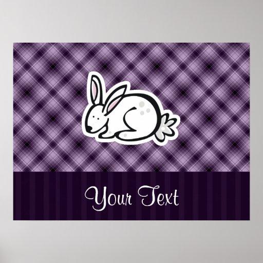 Cute Bunny; Purple Poster