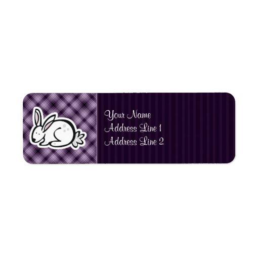 Cute Bunny; Purple Return Address Label