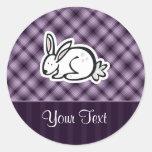 Cute Bunny; Purple Round Sticker