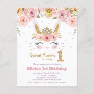 Cute Bunny Rabbit 1st Birthday Pink Floral Invitation Postcard