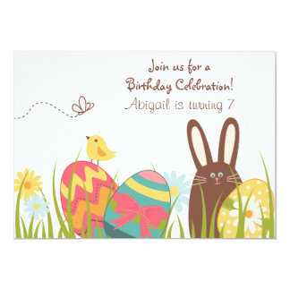Cute Bunny Rabbit and Easter Eggs Spring Birthday Card