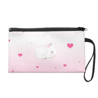 Cute bunny rabbit and hearts wristlet purses