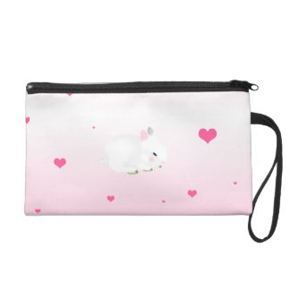 Cute bunny rabbit and hearts wristlet