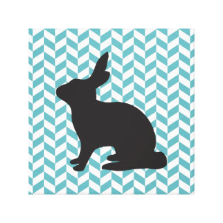 Cute bunny rabbit baby animal geometric chevron canvas print