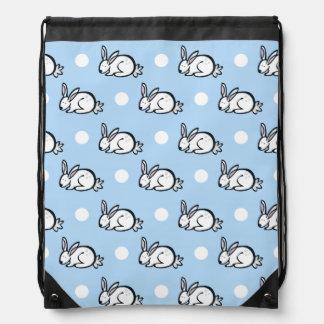 Cute Bunny Rabbit; Baby Blue & White Polka Dots Cinch Bag