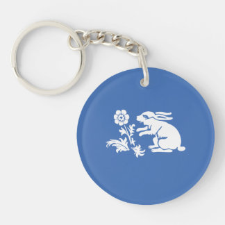 Cute Bunny Rabbit Blue and White Spring or Easter Double-Sided Round Acrylic Keychain