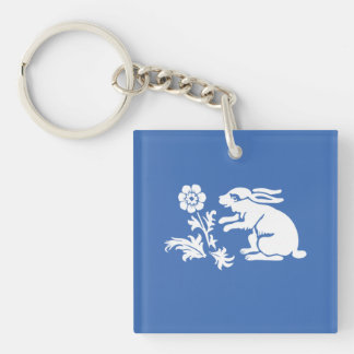 Cute Bunny Rabbit Blue and White Spring or Easter Key Chain