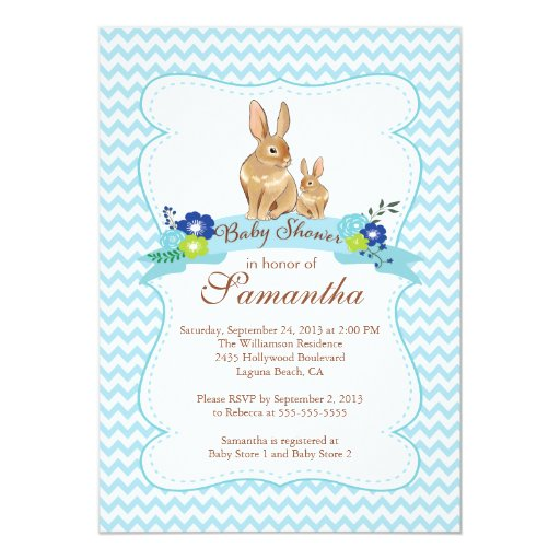 cute bunny rabbit boy baby shower invitations zazzle