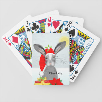 Cute Bunny Rabbit Christmas Holiday Theme Bicycle Playing Cards