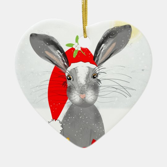 Cute Bunny Rabbit Christmas Holiday Theme Ceramic Ornament ...