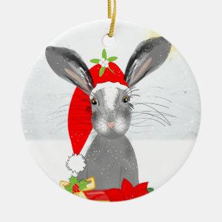 Cute Bunny Rabbit Christmas Holiday Theme Ceramic Ornament