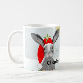 Cute Bunny Rabbit Christmas Holiday Theme Coffee Mug