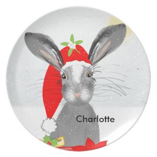 Cute Bunny Rabbit Christmas Holiday Theme Dinner Plate