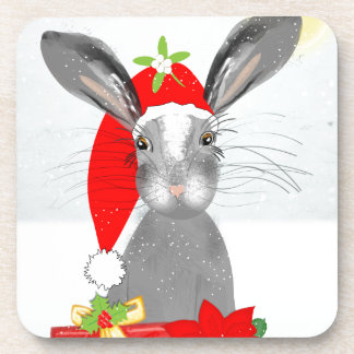 Cute Bunny Rabbit Christmas Holiday Theme Drink Coaster