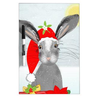 Cute Bunny Rabbit Christmas Holiday Theme Dry-Erase Board