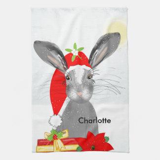 Cute Bunny Rabbit Christmas Holiday Theme Hand Towel