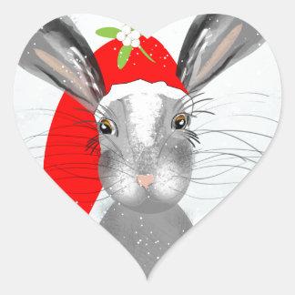Cute Bunny Rabbit Christmas Holiday Theme Heart Sticker