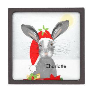 Cute Bunny Rabbit Christmas Holiday Theme Jewelry Box