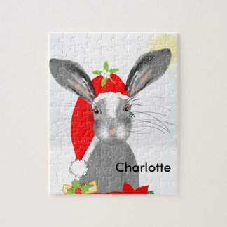 Cute Bunny Rabbit Christmas Holiday Theme Jigsaw Puzzle