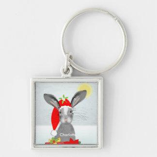 Cute Bunny Rabbit Christmas Holiday Theme Keychain