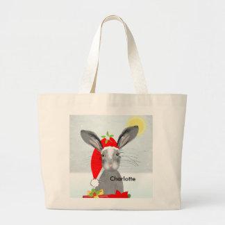 Cute Bunny Rabbit Christmas Holiday Theme Large Tote Bag