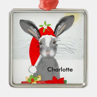 Cute Bunny Rabbit Christmas Holiday Theme Metal Ornament