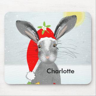 Cute Bunny Rabbit Christmas Holiday Theme Mouse Pad