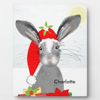 Cute Bunny Rabbit Christmas Holiday Theme Plaque