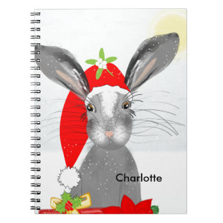 Cute Bunny Rabbit Christmas Holiday Theme Spiral Notebook