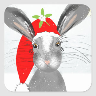 Cute Bunny Rabbit Christmas Holiday Theme Square Sticker